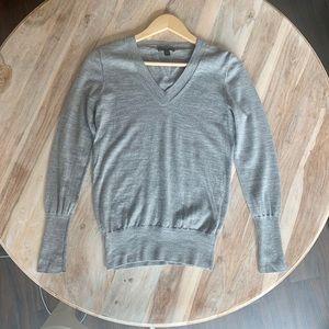 J. Crew Light Gray Merino Wool V Neck Sweater